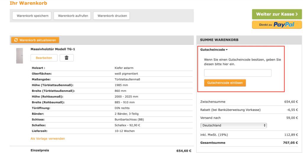 deinetuer Gutscheincode einlösen im Gutscheinfeld auf der Warenkorbseite