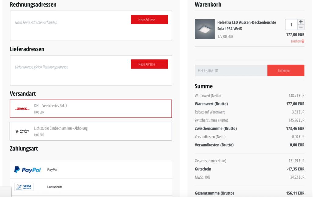 skapetze.com Gutschein eingelöst - Rechnungsübersicht