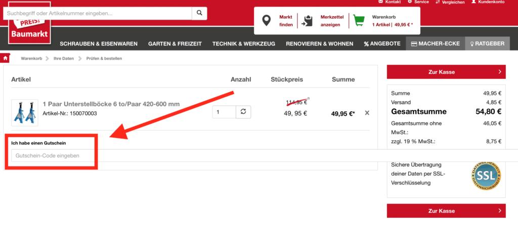 sonderpreis-baumarkt Gutschein verwenden so geht es