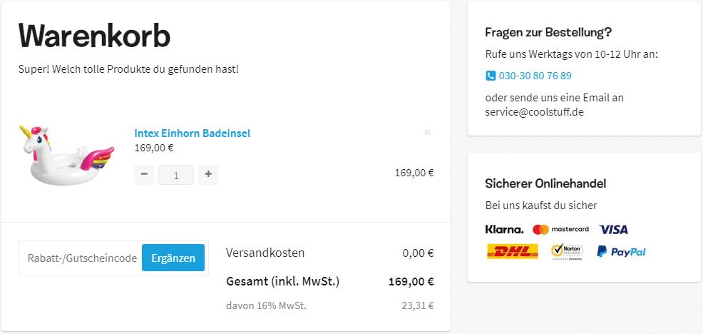 Coolstuff Gutscheine Warenkorb
